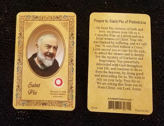 St Pio Holy Card with Relic
