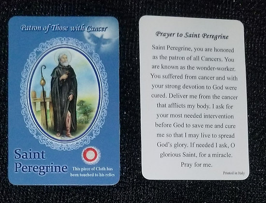 St Peregrine Holy Card with Relic