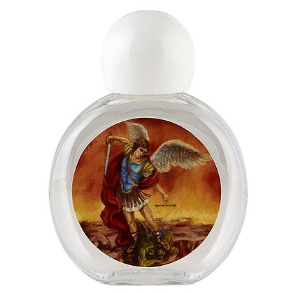St. Michael Filled Round Holy Water Bottle