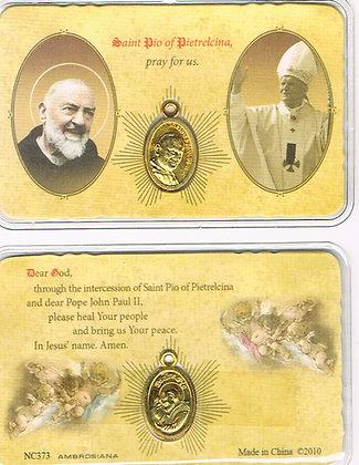 St Pio/ St John Paul II Prayer Card w/Medal
