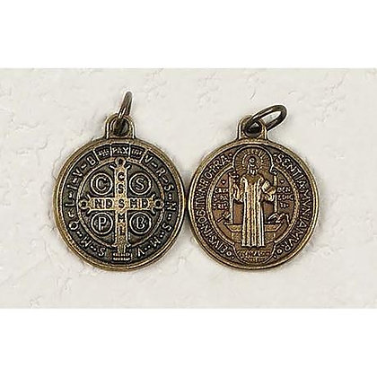 Brass Tone St Benedict Medal w/ exorcism blessing