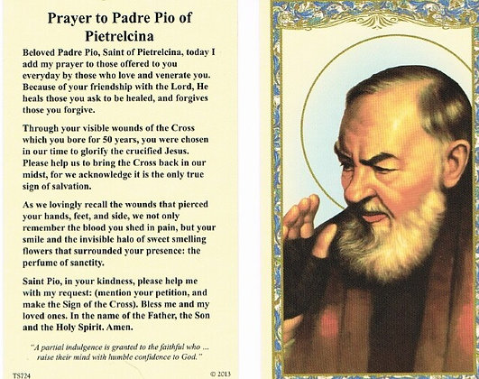 St Pio Holy Card