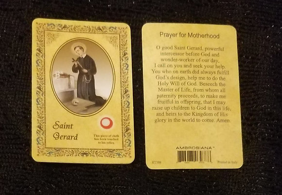 St Gerard Holy Card with Relic