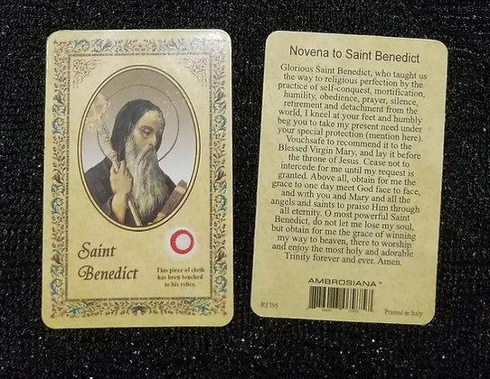 St Benedict Holy Card with Relic