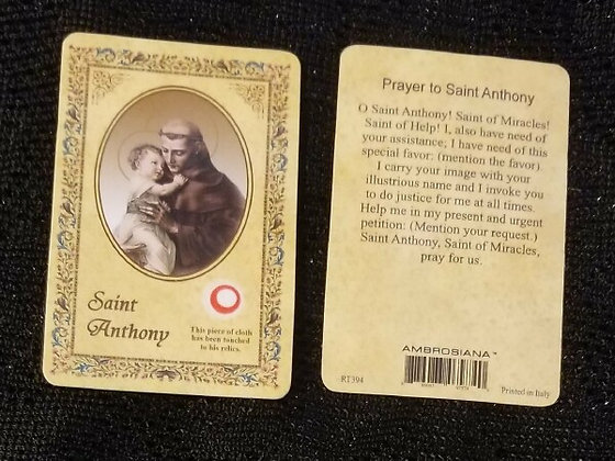 St Anthony Holy Card with Relic