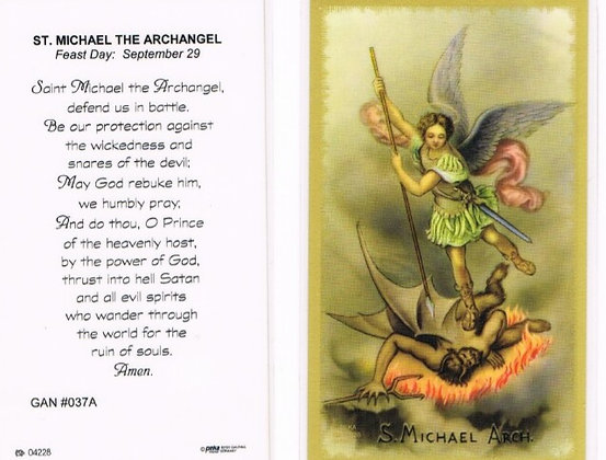Saint Michael Laminated Holy Card