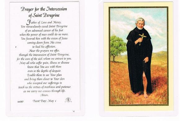 Saint Peregrine holy prayer card