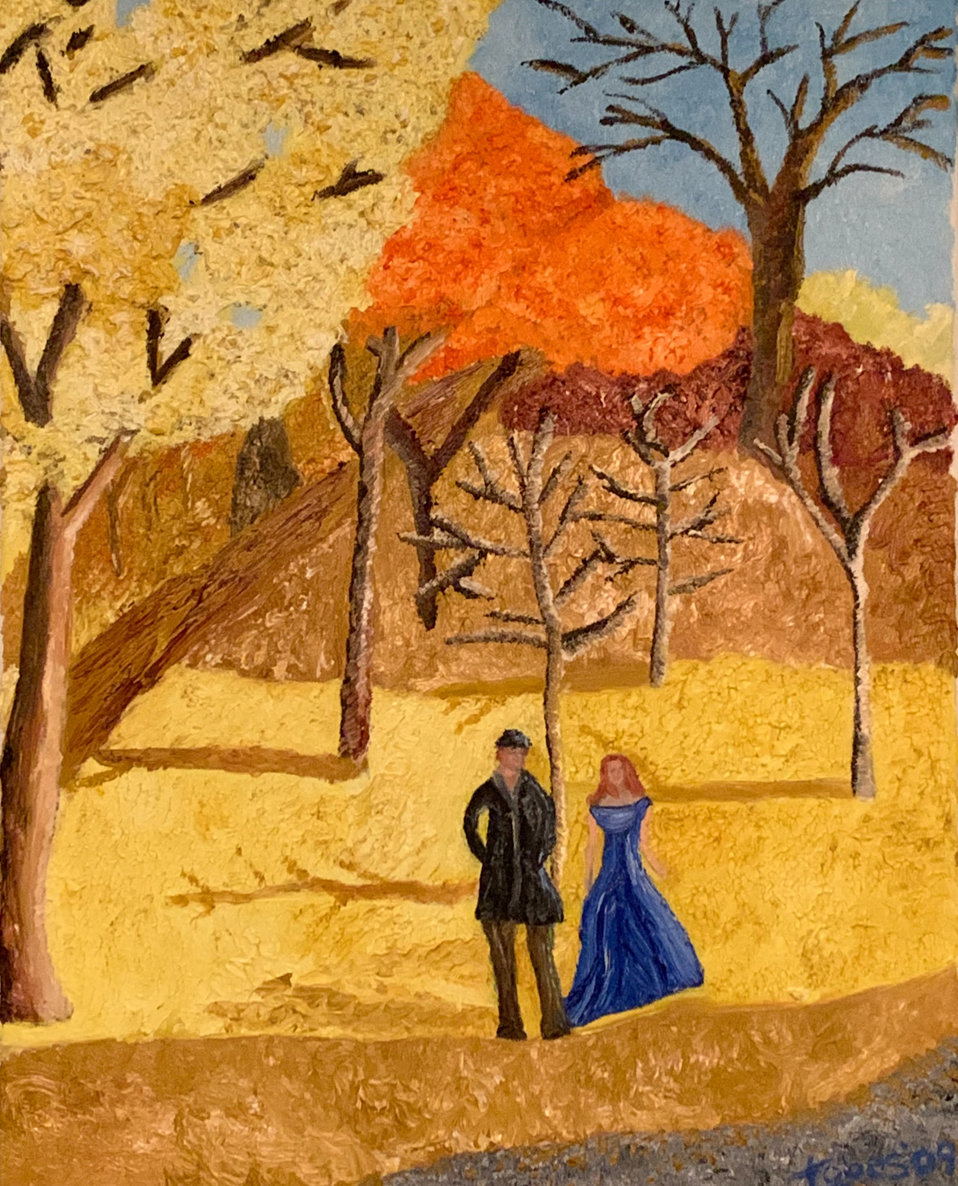 woman in a blue dress, in a yellow field during the fall, with companion