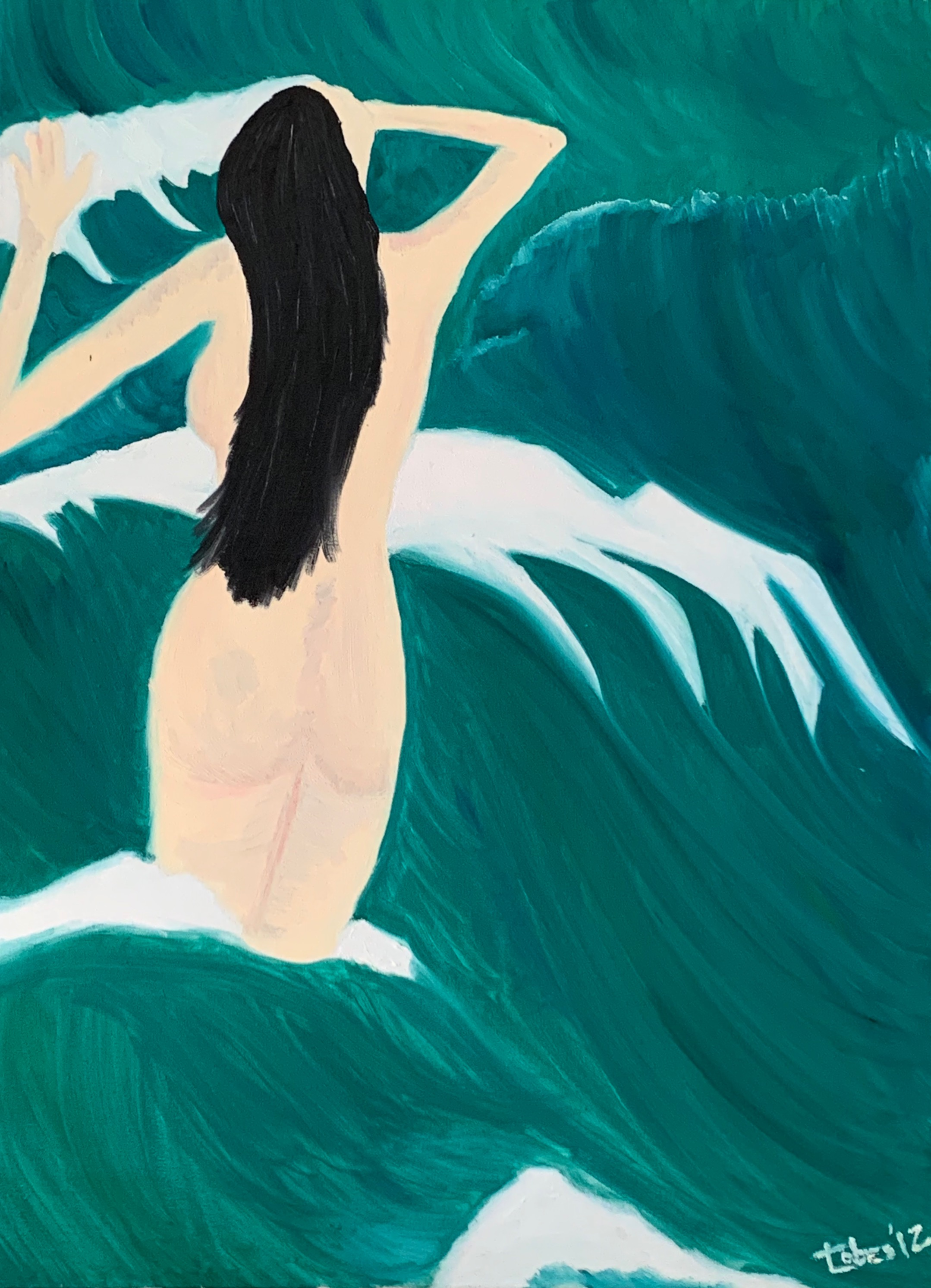 woman swimming with waves