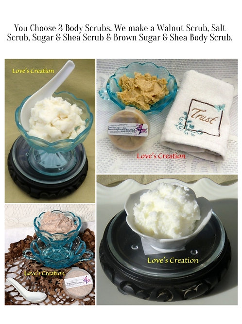 3 Jar Set Body Scrubs-3 Different Soap Scrubs
