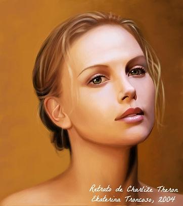 Retrato de Charlize Theron pintado por Ekaterina Troncoso