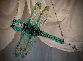 dragonfly,  fused glass, bugs, green