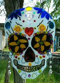 fused glass, skulls, candy skull, sugar skull