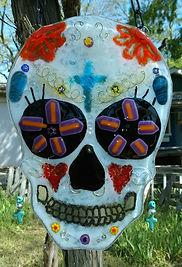 Sugar Skull, Candy Skull, Selena, fused Glass