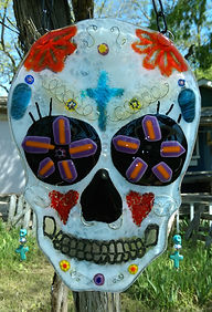 Sugar Skull, Candy Skull, Selena, fused Glass