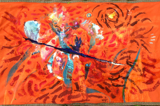 The Tiger and the Kid, acrylic, pigment, dye and flower petals on fabric, 49x82""