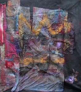 """2 Crowns / Kimono retrieved from the Battleground, acrylic ink and collaged silk and satin on canvas, 57x53"""""""