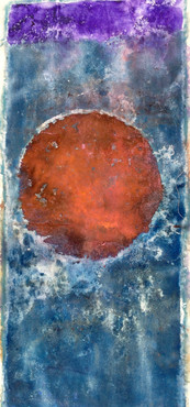Pink Moon, acrylic, dye, and Holi pigment on canvas, 65x29""