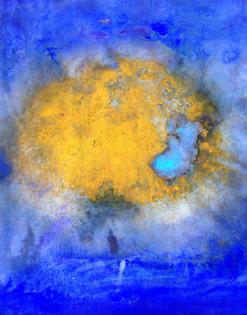 "Odyssey III, acrylic, ink, and turmeric on canvas, 64x46"""