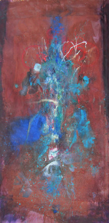 """Quetzacoatl / New Found Land, acrylic, ink, dye, oil, and string on canvas, 77x40"""""""
