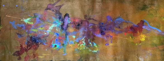 """Howls Bolinas, acrylic, ink, and conte on canvas, 19x55"""""""