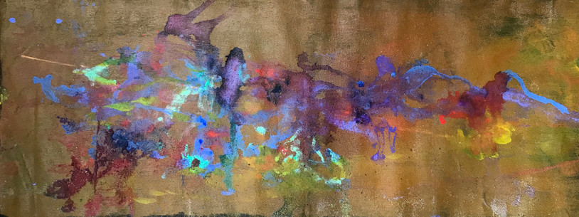 Howls Bolinas, acrylic, ink, and conte on canvas, 19x55""