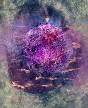 Mississippi Violet Fire, acrylic, ink, dye, holi pigment, Mississippi River dirt, Ligurian sea stones, 62x51""
