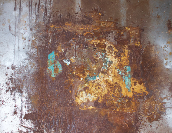 Death of Sculpture II     plaster, copper paint, foliage, clay, and oxidation on steel, 48 x 60 in,