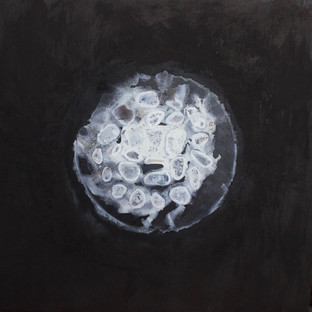 """Wheel 1  acrylic, sand and brick dust on canvas, 57 x 57"""""""