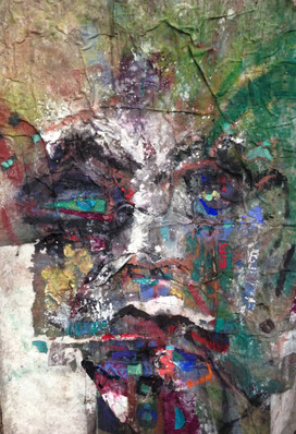 """Sea of Man, acrylic, ink, pigment, dye, wood, glass, collaged silk and canvas on canvas, 63x45"""""""