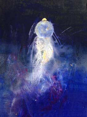 "Barn Owl, acrylic, ink and dye on canvas, 66x23"""