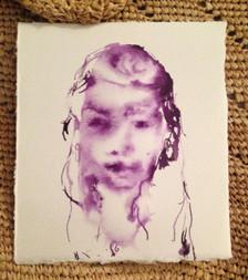 "Z (child), blue dahlia on paper, 7x6"""