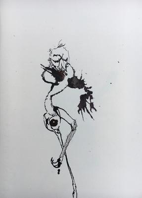 "Jaguar Flower III, ink on paper, 15x10"""