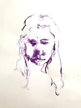"""Z (Warrior), blue dahlia on paper, 15x11"""""""