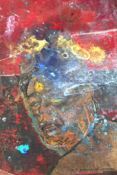 """Self Portrait (kwaidan), acrylic, ink, pastel, oil pastel, pigment, earth, charcoal, glass powder, and oil on wood, 23x16"""""""