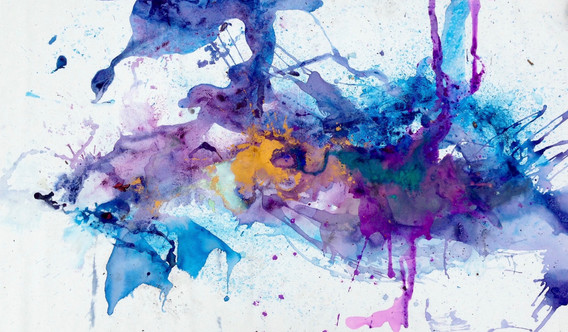 """Idaho Magenta River, acrylic, ink, dye, and pigment on canvas, 32x61"""""""