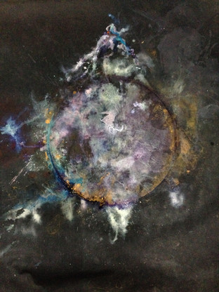 "II Mountains I, acrylic, ink, dye, and pigment on canvas, 63x50"""