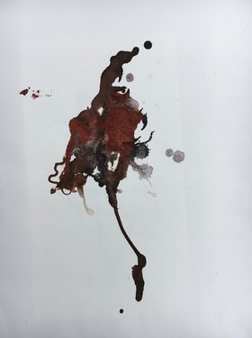 Jaguar Flower I, acrylic, ink and sand on paper, 14x11