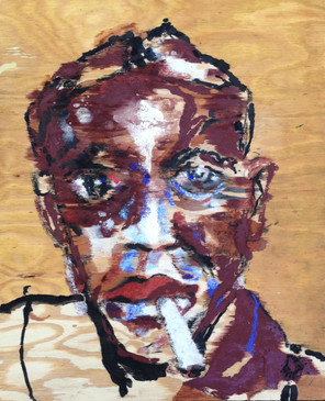 """Rob Johnson IV(Robinsonville), acrylic, ink, woodstain, charcoal and pastel on wood, 22x18"""""""