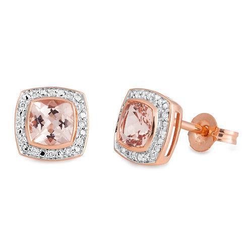 """Michelle"" Morganite and Diamond Earrings"