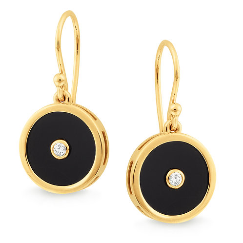 """Victoria"" Onyx and Diamond Drop Earrings"