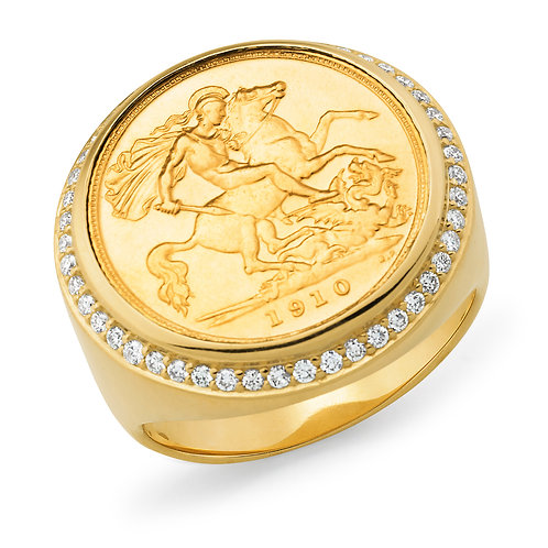 """Monarch""Half Sovereign and Diamond Ring"