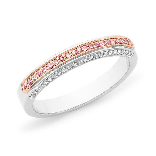 """Georgette"" Pink and White Diamond Wedding Band"