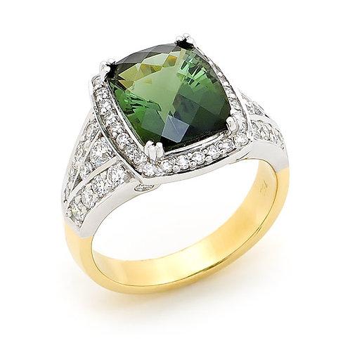 """Contessa"" Green Tourmaline and Diamond Ring"
