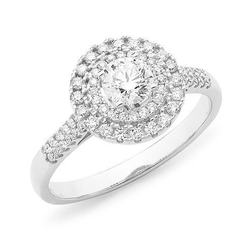 """Princess Lillian"" Diamond Halo Engagement Ring"