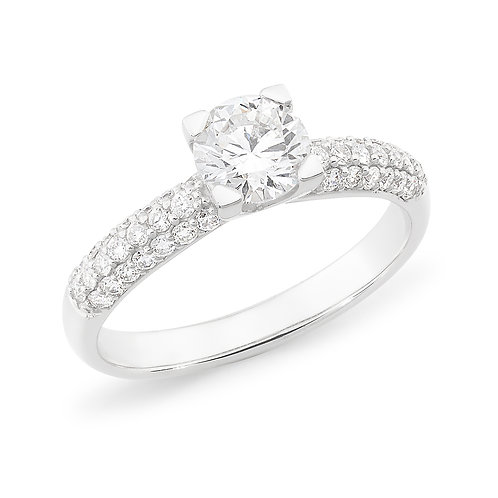 """""""Lia"""" Diamond Engagement Ring with Pave Shoulders"""