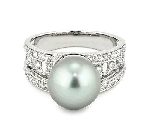 """Kea"" Tanhitian Pearl and Diamond Ring"