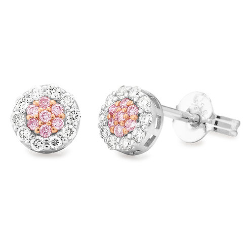 """Dainty"" Pink and White Diamond Earrings"