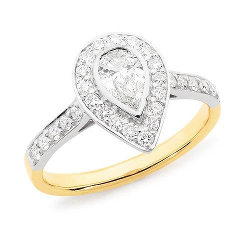 """Teardrop"" Pear Shape Diamond Halo Engagement Ring"