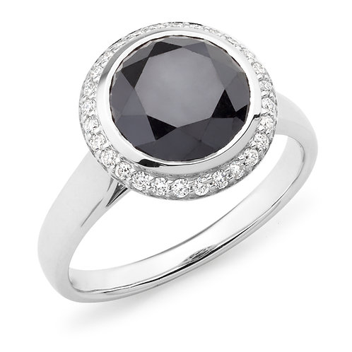 """Sarah"" Black and White Diamond Ring"